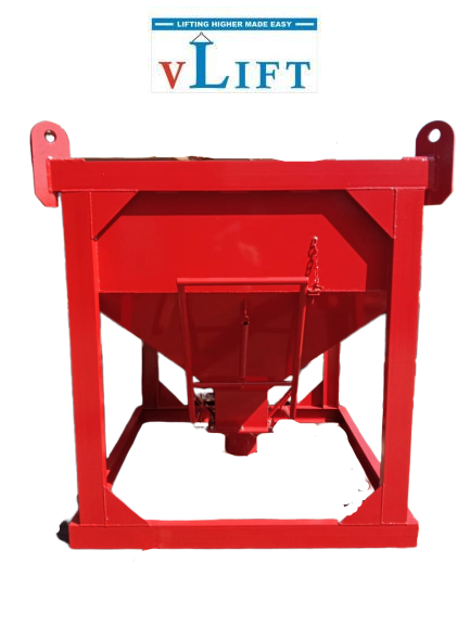 Concrete bucket Square Type with center or bottom unloading or discharge VLift